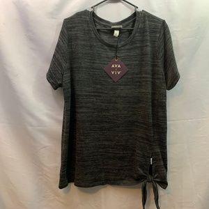 Ava & Viv Plus Size Side Knot Gray/Black Shirt